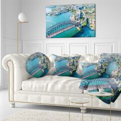 Cityscape Sydney Aerial View Throw Pillow Size: 20