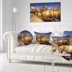 Cityscape USA Skyline from Fan Pier at Night Throw Pillow Size: 20