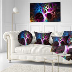 Abstract Magical Psychedelic Tree Throw Pillow Size: 20