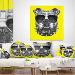 Animal Funny English Bulldog with Collar Throw Pillow Size: 16
