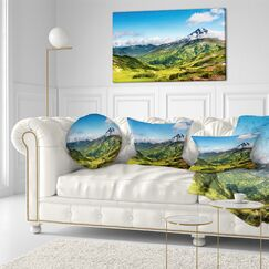 Landscape Printed Mountains with Extinct Volcano Throw Pillow Size: 16