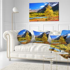 Landscape Printed Beautiful Kamchatka Mountains Throw Pillow Size: 16