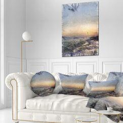Landscape Printed Colorful Dawn over Sea Watercolor Lumbar Pillow