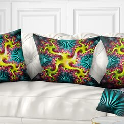 Abstract Glowing Fractal Flower Pillow Size: 16