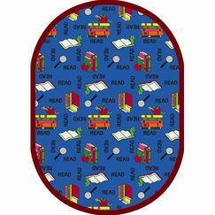 Blue Area Rug Rug Size: Oval 5'4