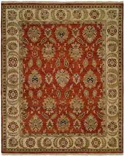 Fatehabad Hand-Knotted Rust/Ivory Area Rug Rug Size: Rectangle 2' x 3'