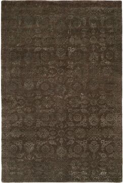 Faridkot Hand-Knotted Smokey Brown Area Rug Rug Size: Rectangle 6' x 9'