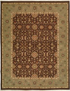 Dhenkanal Hand-Knotted Brown / Aqua Area Rug Rug Size: Rectangle 10' x 14'