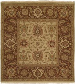 Forbesganj Hand-Knotted Ivory / Brown Area Rug Rug Size: Square 6'