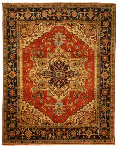 Mangaldo Hand-Knotted Red/Brown Area Rug