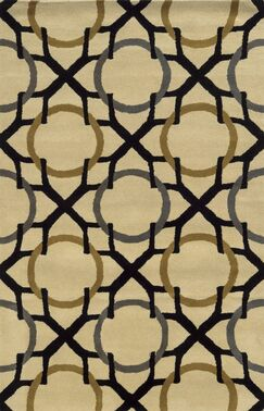 Izmir Hand-Tufted Beige/Black Area Rug Rug Size: Rectangle 3' x 5'