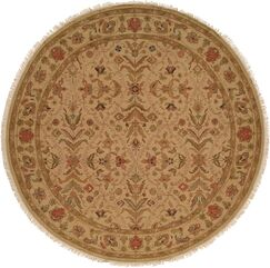 Hand-Knotted Brown Area Rug Rug Size: Round 6'