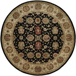 Bumb Hand-Woven Black/Brown Area Rug Rug Size: Round 6'