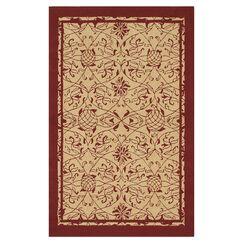 Merion Hand-Hooked Red/Khaki Indoor/Outdoor Area Rug Rug Size: 5' x 7'