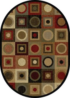 Colette Geometric Red/Brown Area Rug Rug Size: 6'7'' x 9'6'' Oval