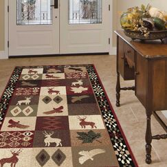 Allegro Diamond Deer Novelty Lodge Scatter Brown/Red Area Rug Rug Size: Rectangle 5'3
