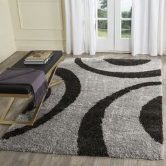 Barbara  Gray/Black Area Rug Rug Size: Rectangle 5'1