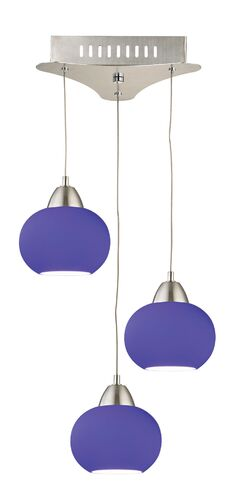 Leominster 3-Light Cluster Pendant Base Finish: Chrome, Shade Color: Blue
