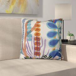 Braylen Jungle Floral Print Outdoor Throw Pillow Size: 16