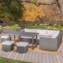 Lebrun 7 Piece Rattan Sectional Set with Cushions Frame Color: Gray