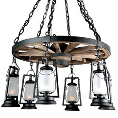 49er Series 6-Light Shaded Chandelier Finish: Bronze, Shade: Frosted