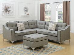 Bacher 4 Piece Living Room Set Upholstery: Light Gray