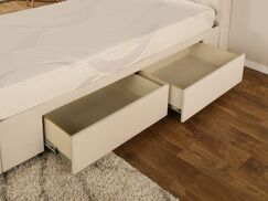 Ariane Twin Upholstered Storage Panel Bed Drawer Storage: 2, Color: Ivory