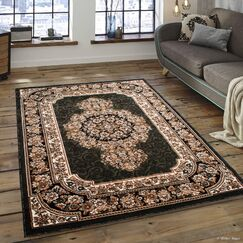 Arkin High-Quality Woven Double Shot Drop-Stitch Carving Green Area Rug Rug Size: 5'2