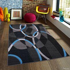 Keeler High Quality Exclusive Drop-Stitch Linear Designed Blue Border Area Rug Rug Size: 7'10