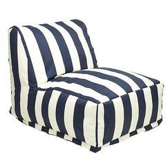 Stripes Bean Bag Lounger Upholstery: Navy Blue