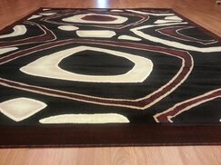 Hand-Carved Black/Red Area Rug Rug Size: Rectangle 10' x 13'