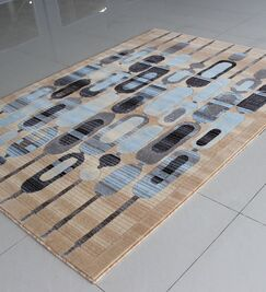 Ivory/Blue Area Rug Rug Size: 5'3