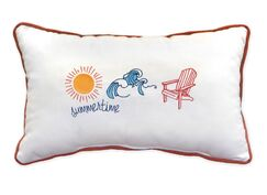 Summertime Embroidery Indoor/Outdoor Lumbar Pillow with Fringe