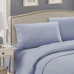 Embroidered Sheet Set Color: Light Blue, Size: Queen