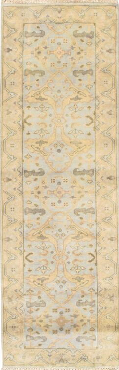 Turkish Hand-Knotted Wool Ivory Area Rug