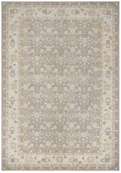 Pishawar Tabriz Hand-Knotted Wool Gray Area Rug