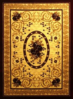 Elif/Passion Gold Area Rug Rug Size: 5'3