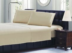 Cable Embroidery Microfiber Sheet Set Size: Twin, Color: Camel