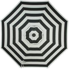 Wiebe Auto Tilt 9' Market Sunbrella Umbrella Fabric Color: Black Stripe, Frame Color: White Sand