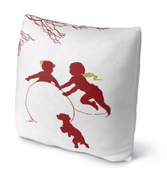 Winter Play Throw Pillow Size: 18