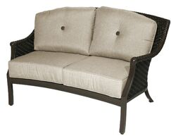 Kanzler Aluminum Outdoor Wicker Curved Loveseat with Cushions Cushion Color: Cast Shale