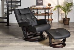 Aarti Manual Swivel Recliner with Ottoman Upholstery: Black