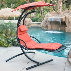 Polyester Hanging Chaise Lounger with Stand Color: Orange