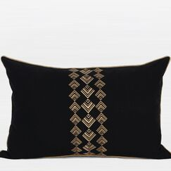 Geometry Pattern Embroidered Cotton Lumbar Pillow