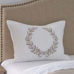 Laurel Wreath Embroidered Sham Size: Standard