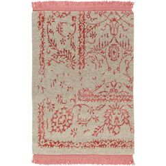 Marwan Hand-Knotted Coral/Khaki Area Rug Rug Size: Rectangle 9' x 13'