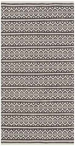 Oxbow Hand-Woven Cotton Ivory/Black Area Rug Rug Size: Runner 2'3