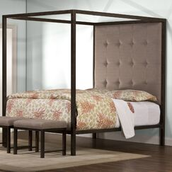 Galena Metal Framed Upholstered Canopy Bed Size: Queen