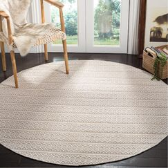 Oxbow Hand-Woven Ivory Area Rug Rug Size: Round 6'