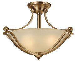 Bolla 2-Light Semi Flush Mount Finish: Brushed Bronze, Bulb Type: FSI, Shade Color: Light Amber Seedy Glass